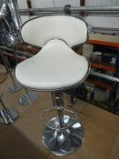 * beauticians counter stool - chrome with white seat with black trim. Heavy base with adjustable gas