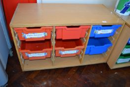*Wood Effect Storage Unit with Plastic Trays
