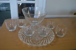 *Glass Bowl, Glass Tray and Six Glasses
