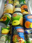 ~30 Tins of Canned Fruit and Veg