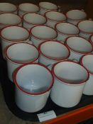 * white enamel mugs x 19