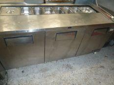 * True S/S 3 door bench chiller with pizza prep gastronome top TSSU-72-18. 1840w x 760d x 900h
