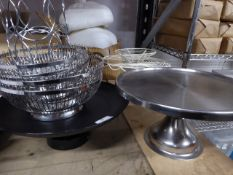 * selection of cake stands and wire baskets x 8 items