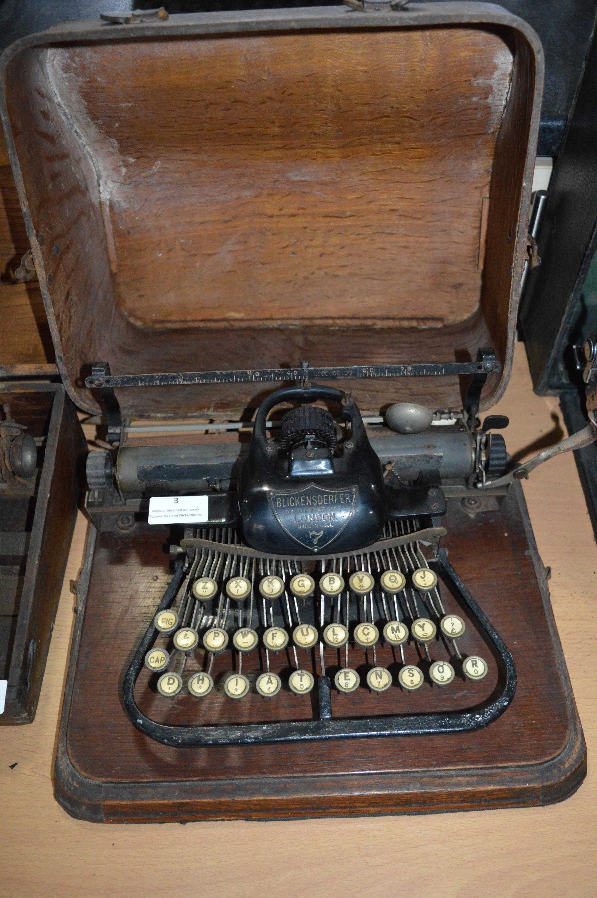 Blickensderfer No.07 Typewriter In Original Wooden Case - London, Made in USA