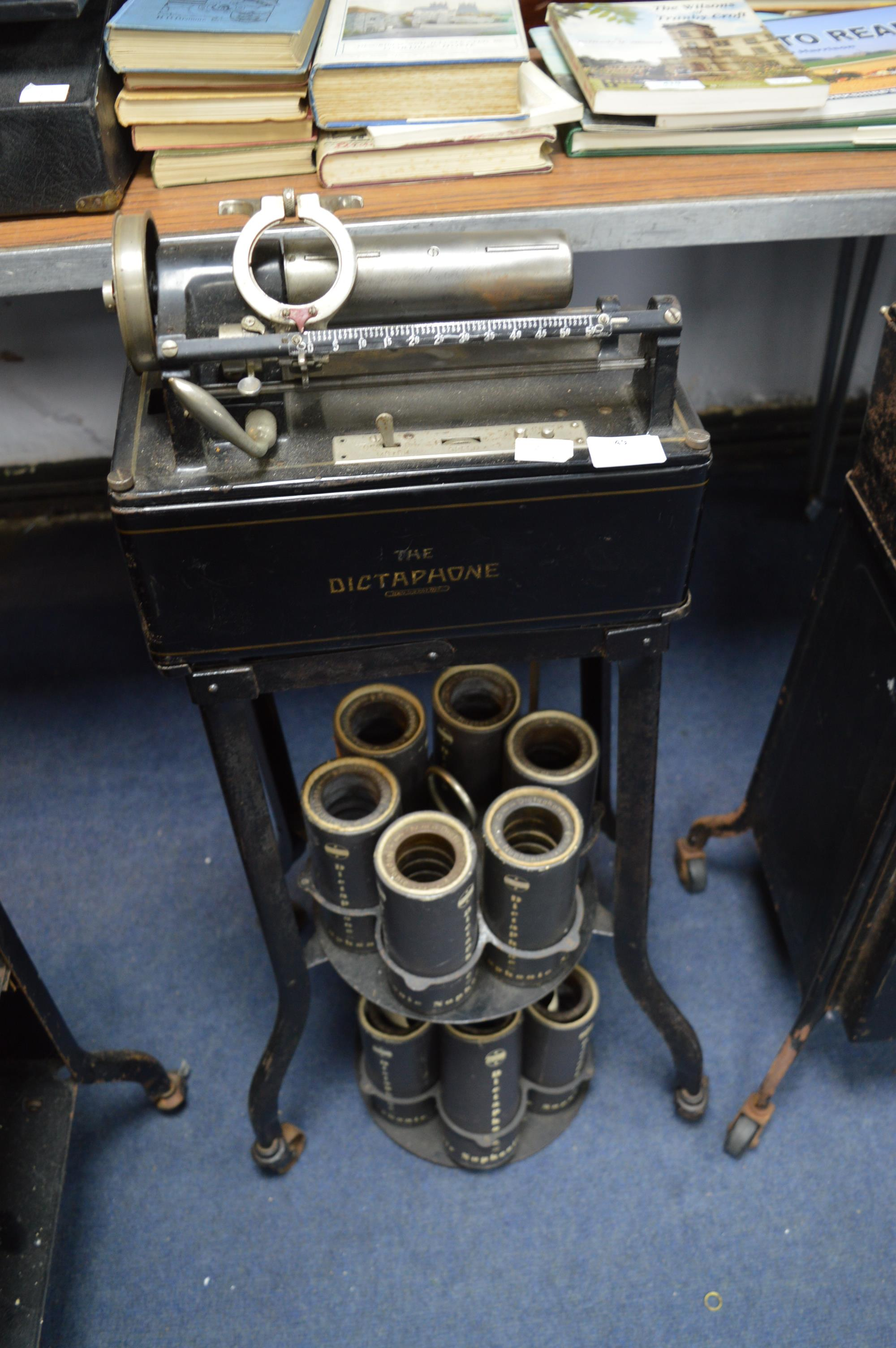 Dictaphone on Stand plus Twelve Cylinders