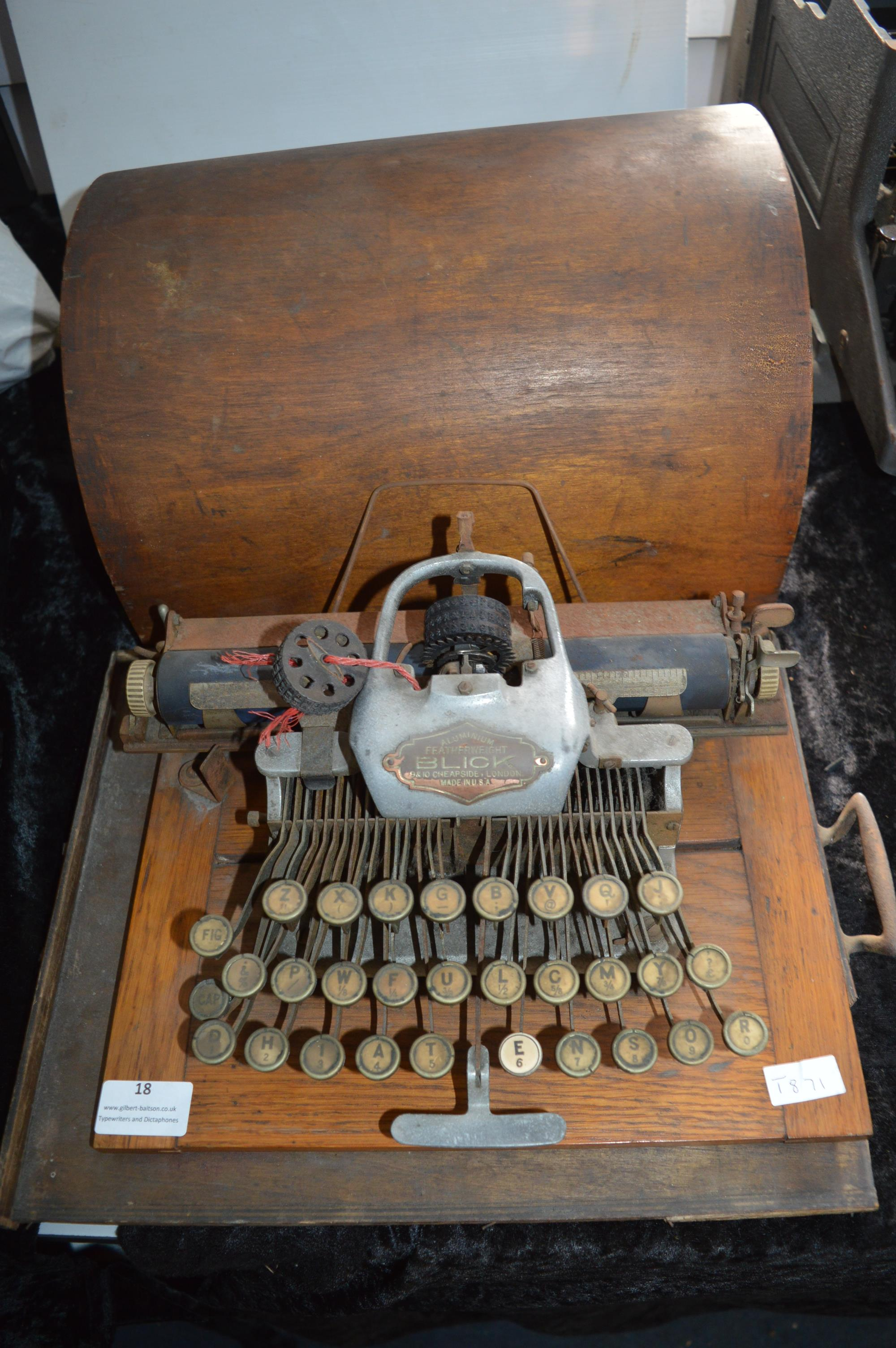 Blick Aluminium Featherweight Typewriter with Wooden Carry Case