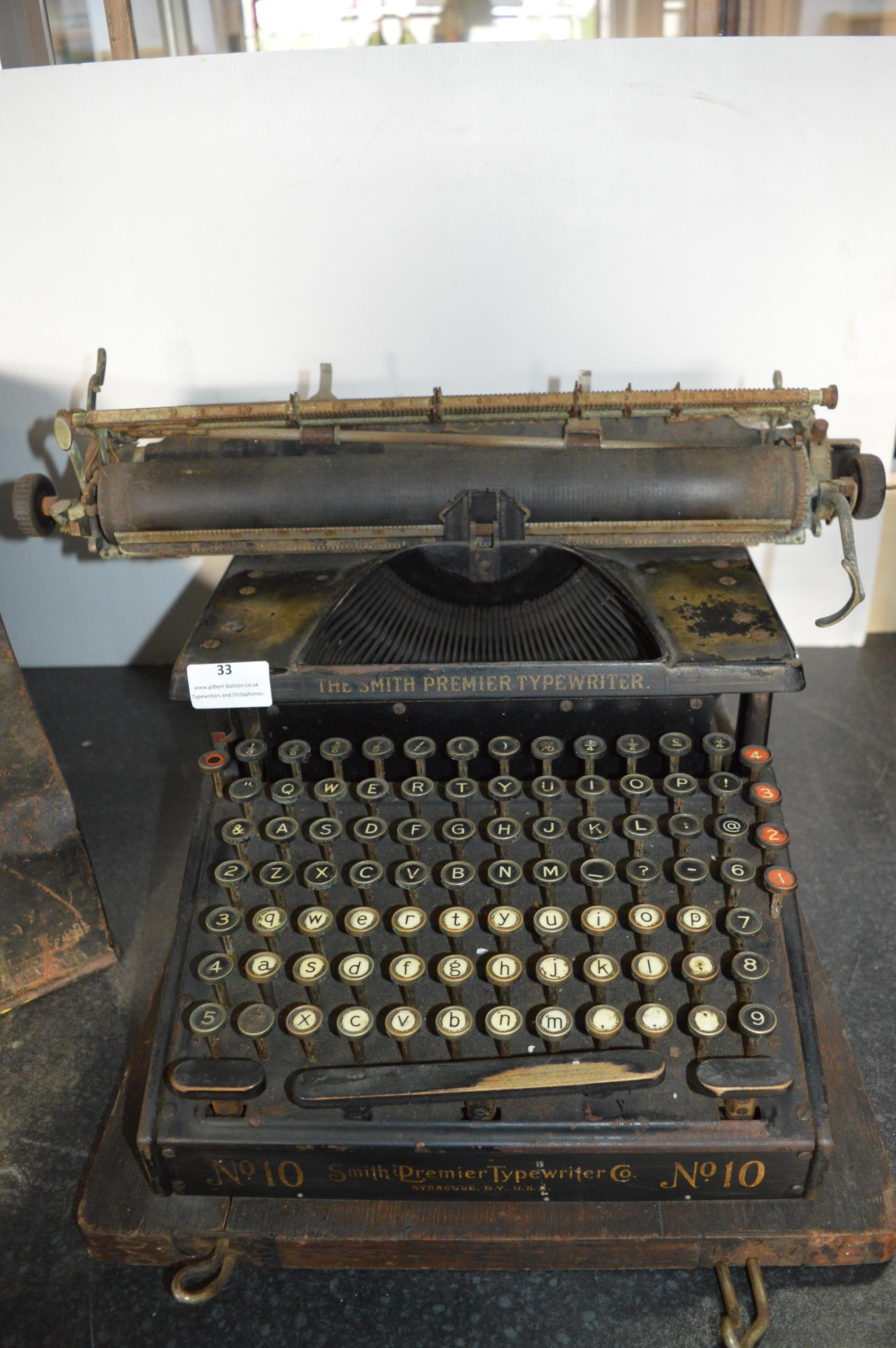 Smiths Premier No.10 Typewriter - Syracuse, New York, USA - Image 2 of 3