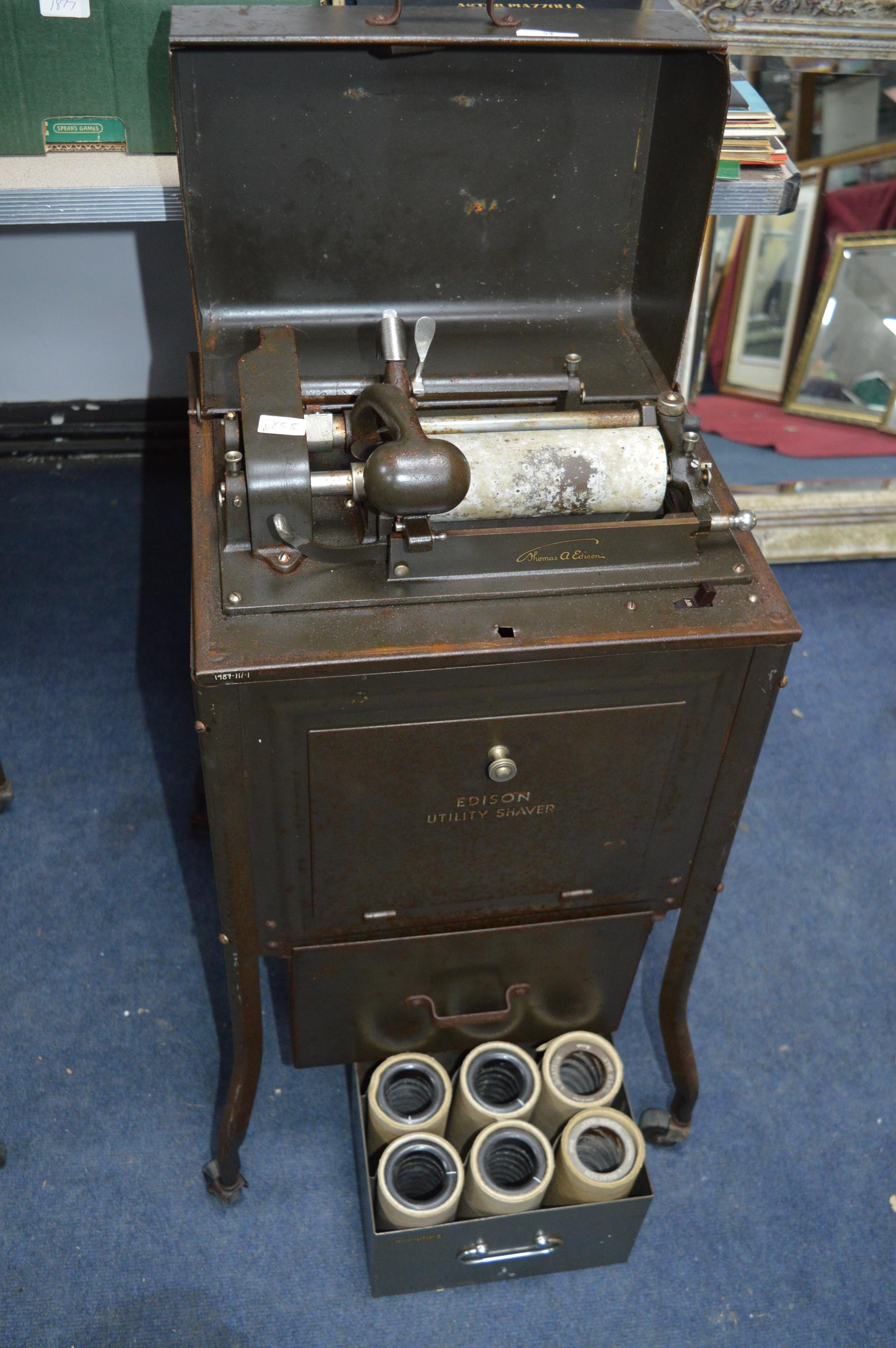 Edison Dictaphone in Cabinet on Wheels