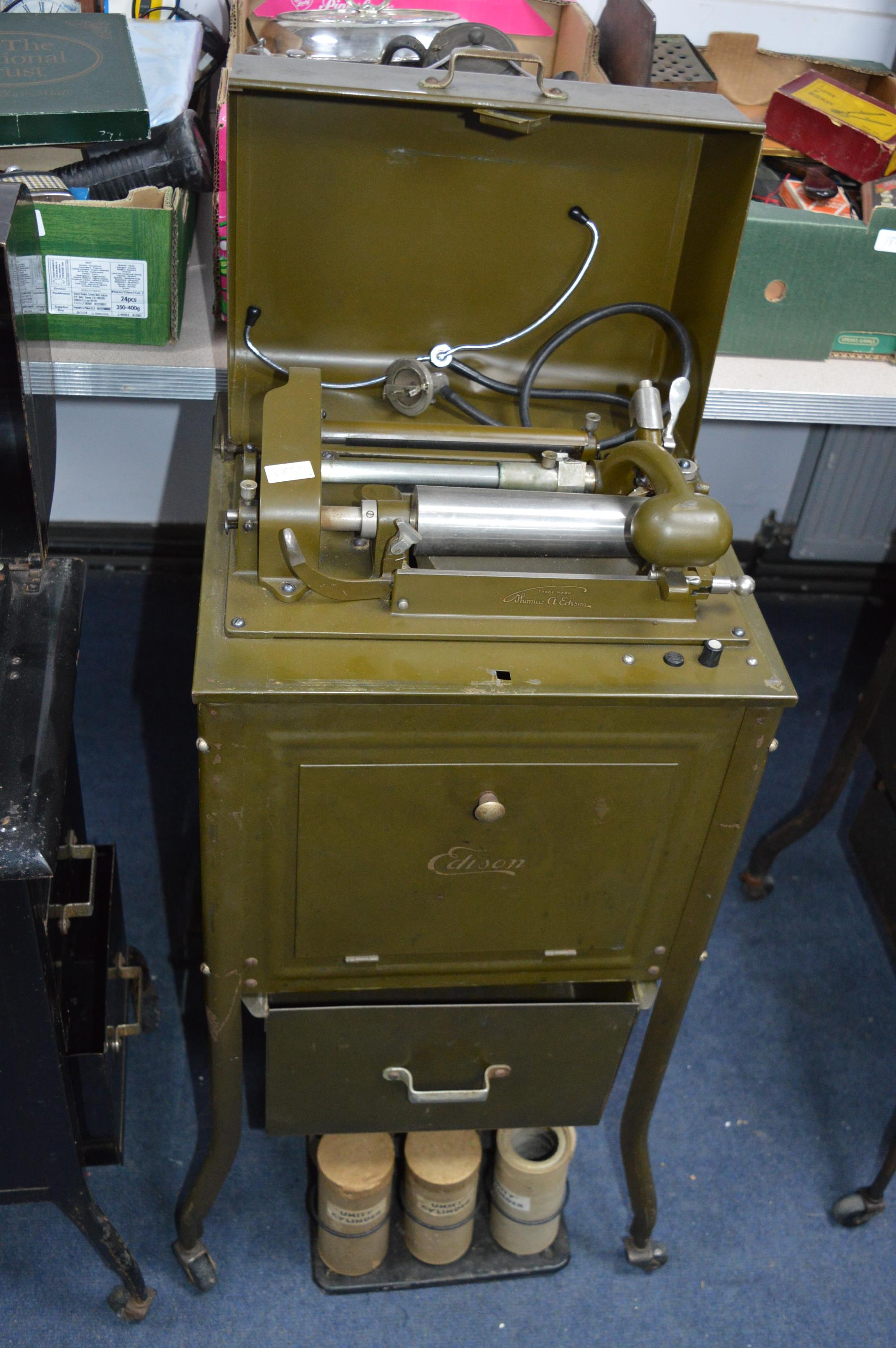 Military Edition Edison Dictaphone Shaving Machine in Cabinet on Wheel, plus Six Cylinders in Rack