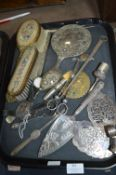 Tray Lot of Part Dressing Table Sets, Cake Servers