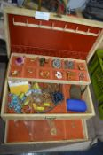 Jewellery Box and Contents of Vintage Costume Jewe