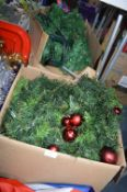 Two Large Boxes of Christmas Foliage, Baubles, Fla