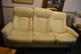 Leather Reclining Three Seat Sofa