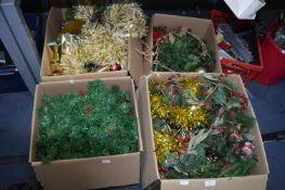 Four Boxes of Christ Decorations, Foliage, Wreathe