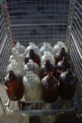 Sixteen Brown & Clear Glass 1 Gallon Demijohns