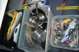 Two Large Tubs of Kitchenware, Stainless Steel Pan