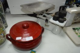 Vintage Kitchen Scales with Weights plus Casserole