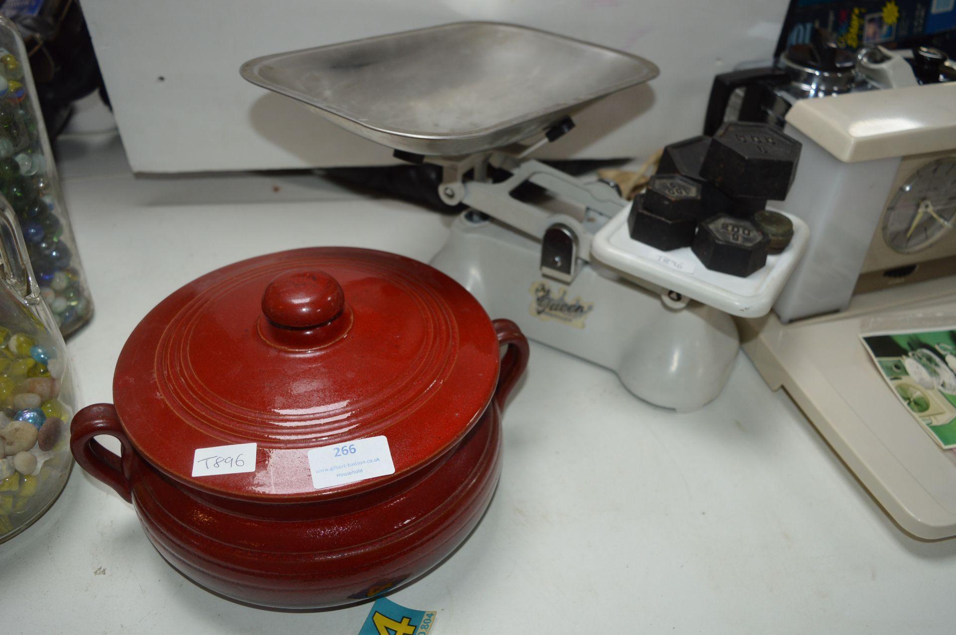 Vintage Kitchen Scales with Weights plus Casserole