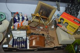 Box of Collectibles; Binoculars, Staffordshire Fla