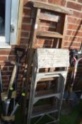 Bratts Wooden Step Ladder and an Aluminium Step La