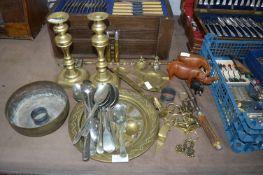Brassware Including Candlesticks, plus Cutlery, Wo