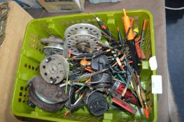Basket of Fishing Reels, Floats, etc.