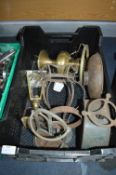 Metalware Including Old Scales, Brass Lamp, etc.