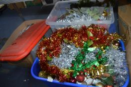 Two Large Plastic Tubs of Christmas Garlands, Tins