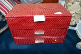 Red Leather Effect Jewellery Box