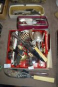 Three Small Boxes of Plated Cutlery etc.