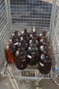 Fourteen Brown Glass 1 Gallon Demijohns