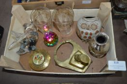 Glassware, Brassware, and an Owl