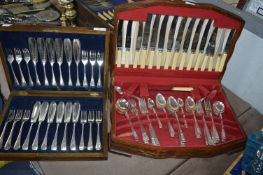 Two Complete Cutlery Canteens and Contents