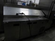 *3 door pizza prep top bench chiller on castors. 1800w x 700d x 1300h