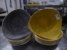 *13 x yellow and grey speckled bowls