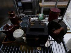 *selection of interesting display items - tins/jugs/ticket dispenser/etc