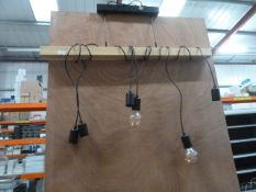 *industrial style light fitting with 6 drops (some bulbs required).