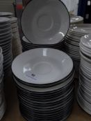 *approx 40 x white saucers with blue rim