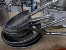 *8 x commercial solid base frying pans