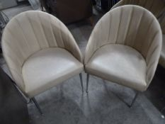 * 20 x cream faux leather chairs with metal legs