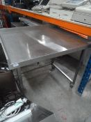 *S/S prep bench with upstand to rear and right and space for appliance under. 1000w x 800d x 970h. U