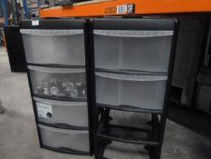 *2 x black plastic drawer units (2 x missing drawers)