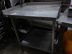 *S/S prep bench with upstand to right and rear (with small cut out) and under shelf. 850w x 700d x 9