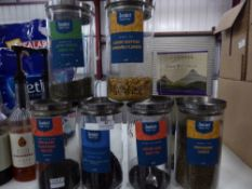 *tea selection - 6 x glass jars with loose leaf teas, part bag Tetley's tea bags, Birdcall decaf tea