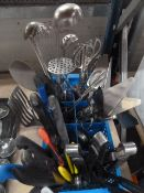 *large assortment of chefs knives and utensils