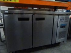 *Polar 2 door bench top chiller with upstand on castors. 1360w x 700d x 940h