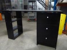 *black desk with 3 drawers