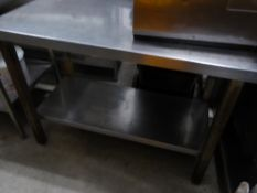 *S/S prep bench with upstand and under shelf. 1210w x 600d x 920h