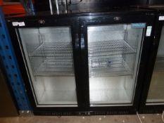 *double door undercounter bottle cooler. 900w x 500d x 850h