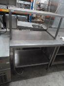 * S/S prep bench with undershelf and overshelf. 1000w x 700d x 1400h